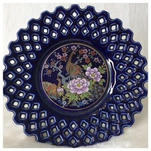 VINTAGE Handcrafted Japanese Peacock Pattern Plate